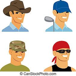 caricatura, avatar, retrato, hombre