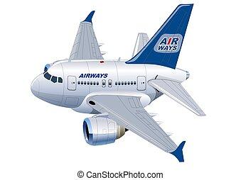 caricatura, avião comercial
