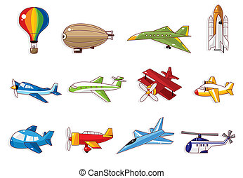caricatura, avión, icono