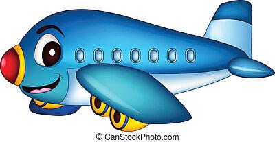 caricatura, avión, vuelo