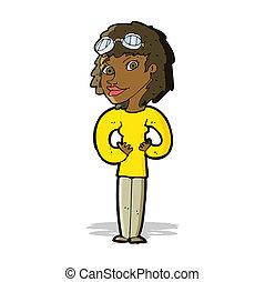 caricatura, aviador, mulher