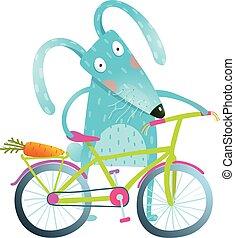 caricatura, azul, coelhinho, com, bicicleta