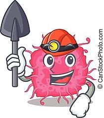 caricatura, bactérias, conceito, desenho, mineiro, ferramenta, pathogenic, capacete