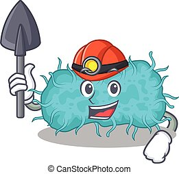 caricatura, bactérias, conceito, desenho, mineiro, ferramenta, prokaryote, capacete