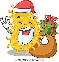 caricatura, bactérias, desenho, spirilla, presente natal, santa