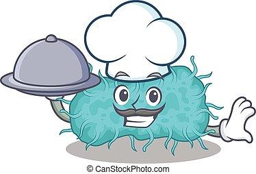 caricatura, bandeja, alimento, bactérias, cozinheiro, personagem, prokaryote, servindo