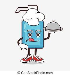 caricatura, bandeja, alimento, mão, saque, pronto, personagem, cozinheiro, sanitizer, mascote