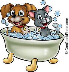 caricatura, banho, lavando, cão, gato