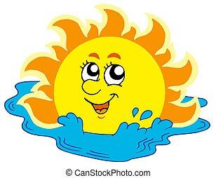 caricatura, banho sol, em, mar