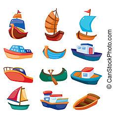 caricatura, barco, icono