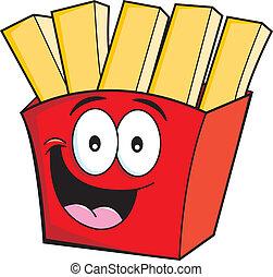 caricatura, batatas fritas