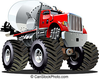 caricatura, batidora, camión gigantesco