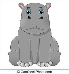 caricatura, bebê, hipopótamo