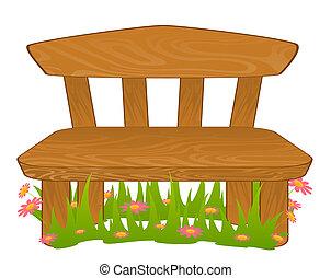 caricatura, bench.