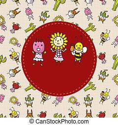 caricatura, bicho, y, flor, tarjeta