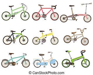 caricatura, bicicleta, ícone