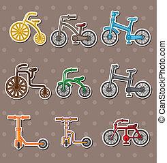 caricatura, bicicleta, adesivos