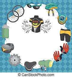 caricatura, bicicleta, equipamento, seamless, padrão