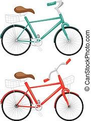 caricatura, bicicleta, ilustração