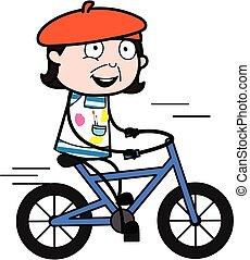 caricatura, bicicleta que cabalga, artista