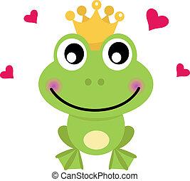 caricatura, blanco, aislado, príncipe de rana