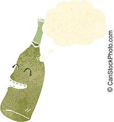 caricatura, blanco,  Retro, botella, vino