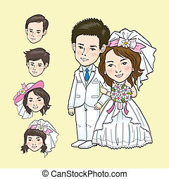 caricatura, boda