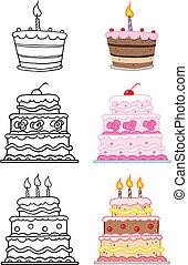 caricatura, bolos, jogo, cobrança