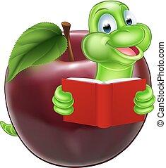 caricatura, bookworm, maçã