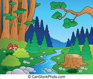 caricatura, bosque, paisaje, 1