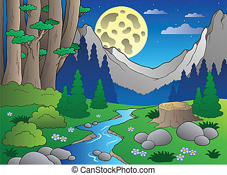 caricatura, bosque, paisaje, 3