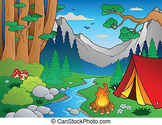 caricatura, bosque, paisaje, 4