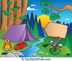 caricatura, bosque, paisaje, 6