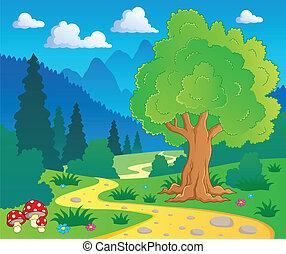 caricatura, bosque, paisaje, 8