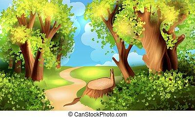 caricatura, bosque, plano de fondo