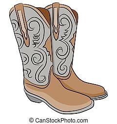 caricatura, botas, vaquero