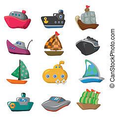 caricatura, bote, ícone