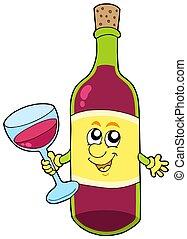 caricatura, botella de vino