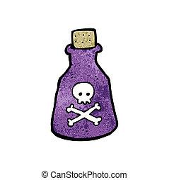 caricatura, botella, veneno