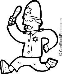 caricatura, británico, policía