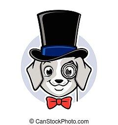 caricatura, cão, chapéu superior