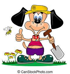 caricatura, cão, jardinagem