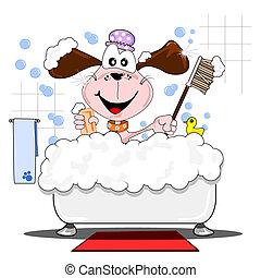 caricatura, cão, tendo, banho