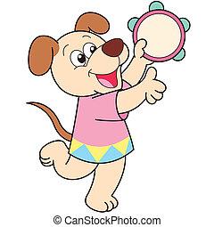 caricatura, cão, tocando, um, tambourine