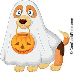 caricatura, cão, vestido, como, um, spooky