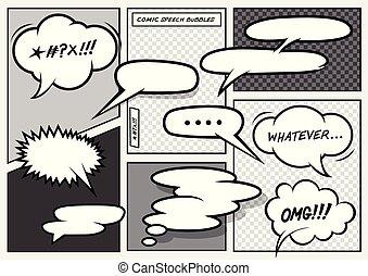 caricatura, cómico, discurso, burbujas