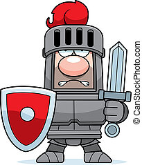 caricatura, caballero, en, armadura