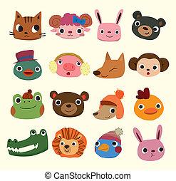 caricatura, cabeça animal, ícones
