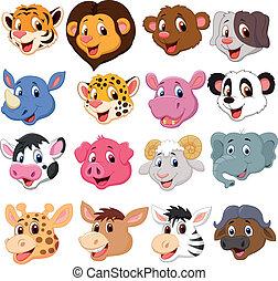 caricatura, cabeza animal, colección, conjunto
