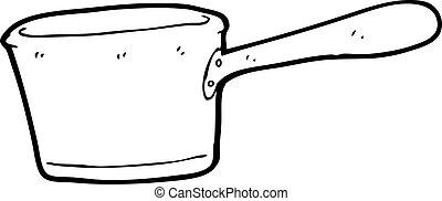 caricatura, cacerola, cocina